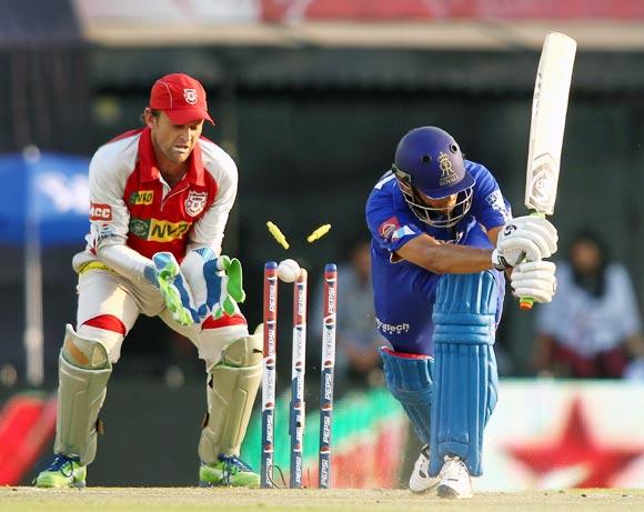 Rahul Dravid is bowled