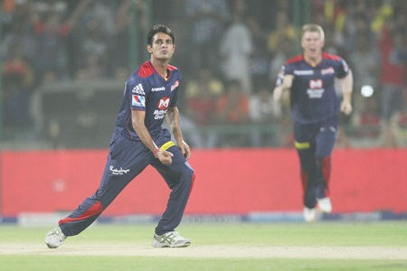 Siddarth Kaul celebrates the dismissal of Pujara