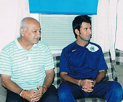 Cheteshwar Pujara with his father Arvind Pujara