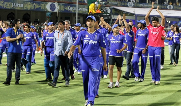 Rajasthan Royals players celebrate