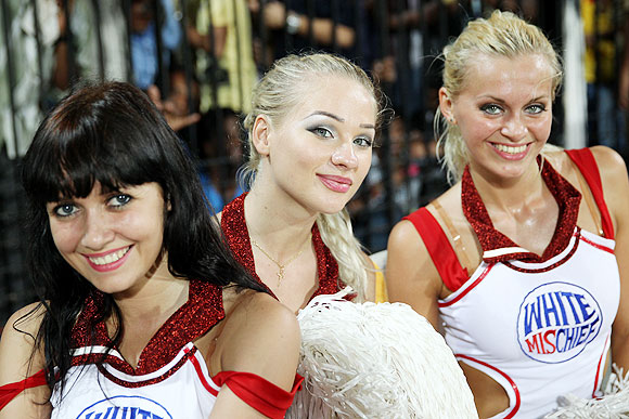 Delhi Daredevils' cheerleaders pose for the camera