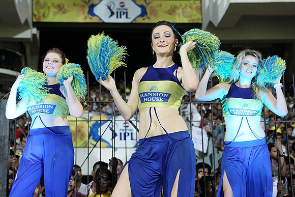 Chennai Super Kings' cheerleaders perform a routine during the match on Tuesday