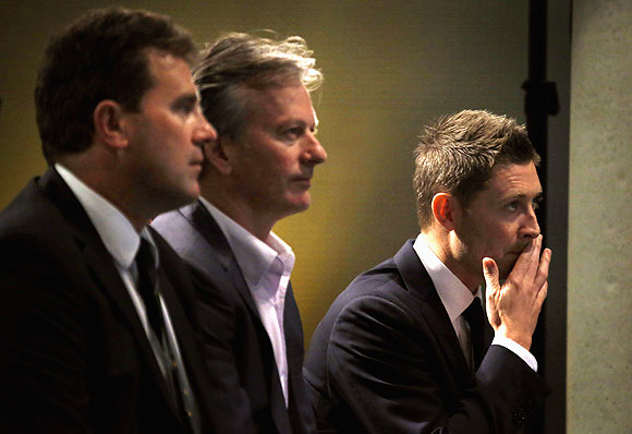 Current Australian cricket team captain Michael Clarke (right) sits with former Australian team captains Mark Taylor (left) and Steve Waugh