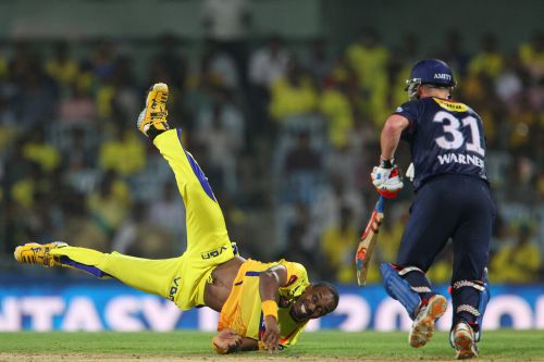 Dwayne Bravo fields the ball