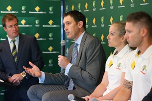 James Sutherland addresses the ,media with Australia captains Jodie Fields and Michael Clarke
