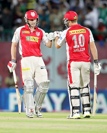 Shaun Marsh (left) and David Miller compiment each other