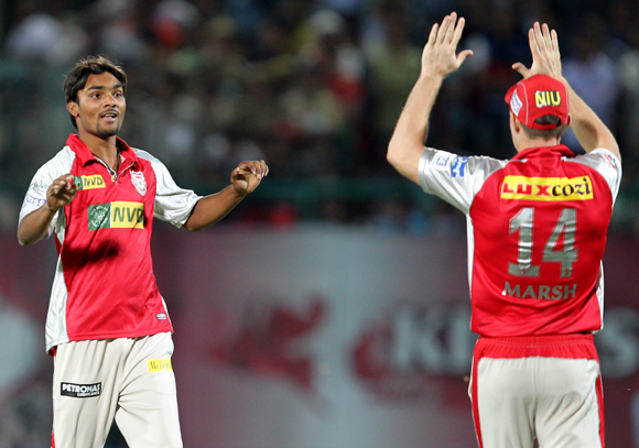 Sandeep Sharma celebrates wicket of Irfan Pathan