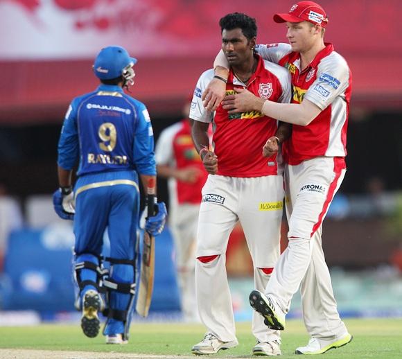 Parvinder Awana celebrates the wicket of Ambati Rayudu