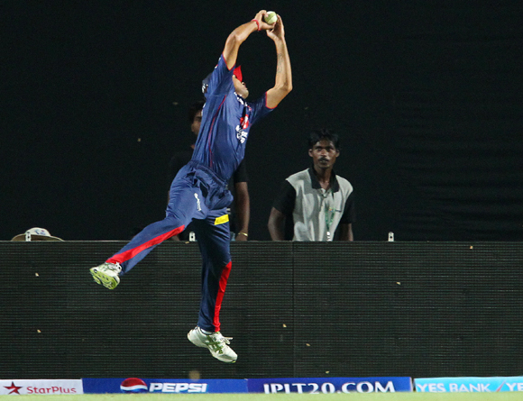 Siddarth Kaul takes the catch to dismiss Azhar Mahmood