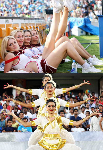 Rediff Cricket - Indian cricket - Who's hotter: Cheergirls in Desi or Western outfits?