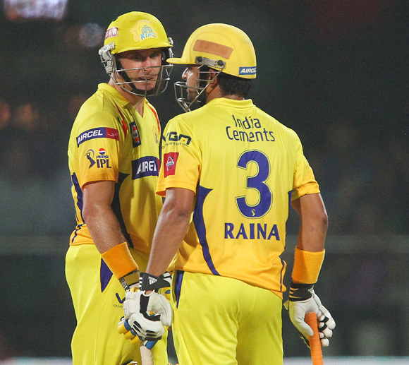 Michael Hussey and Suresh Raina during the first qualifier