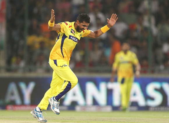 Ravindra Jadeja of Chennai Super Kings celebrates getting a wicket