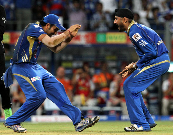 Rohit Sharma (left) with Harbhajan Singh