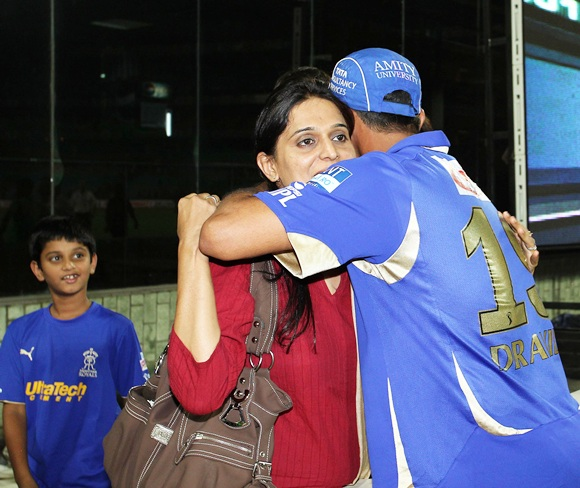 Rahul Dravid hugs his wife