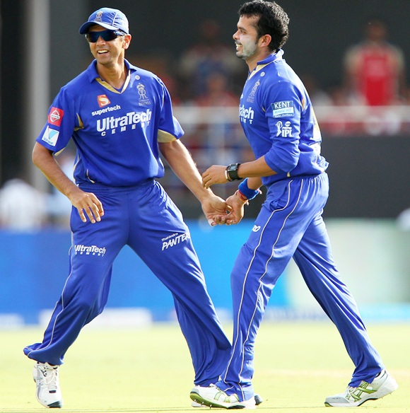 Rahul Dravid with S Sreesanth