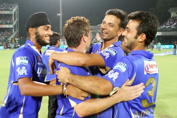 Rahul Dravid with teammates