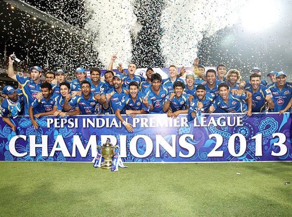Mumbai Indians celebrate winning the IPL