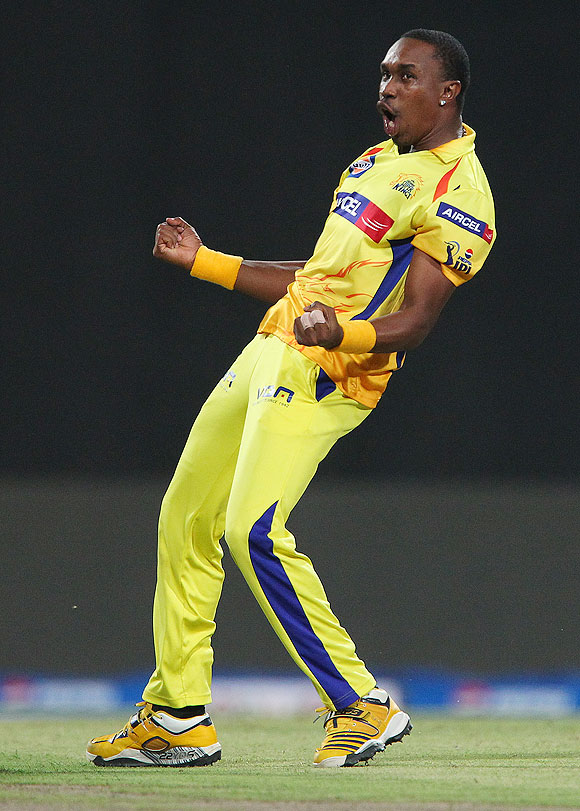 Dwayne Bravo celebrates the wicket of Ambati Rayudu