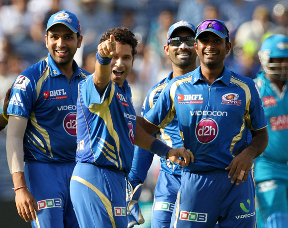 Rohit Sharma, Sachin Tendulkar and Ambati Rayudu