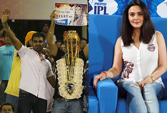 A fan with a proposal for Preity Zinta