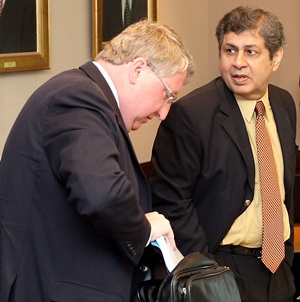 England and Wales Cricket Chief David Collier (left) and Pakistan's Wasim Bari