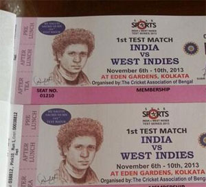 Tickets of the Eden Gardens Test match bearing a picture of Sachin Tendulkar
