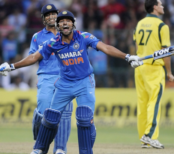 Rohit Sharma celebrates his double ton against Australia