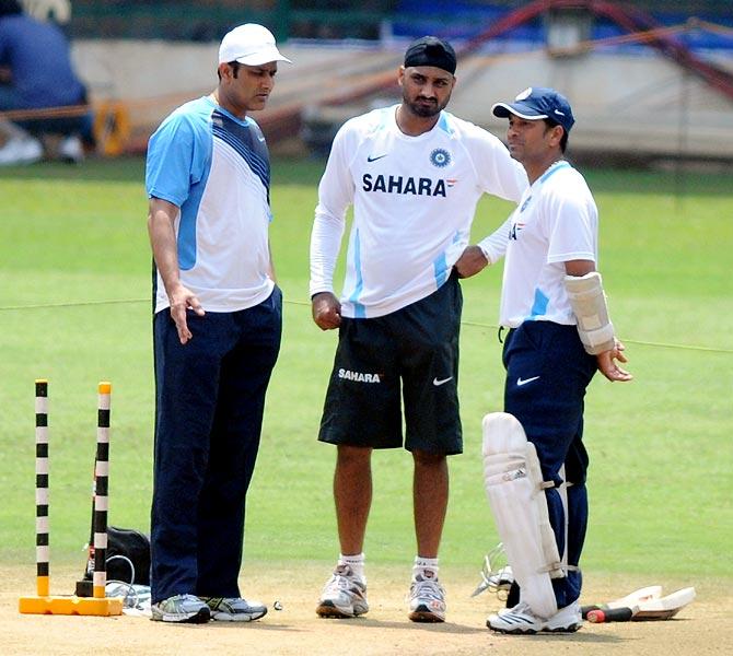 (Left to right): Anil Kumble, Harbhajan Singh and Sachin Tendulkar