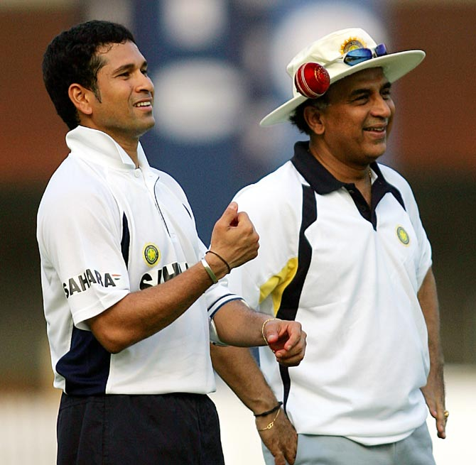Sachin Tendulkar (left) with Sunil Gavaskar