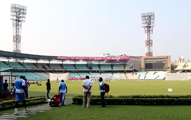 The West Indies team arrive for their nets session at the Eden Gardens in Kolkata