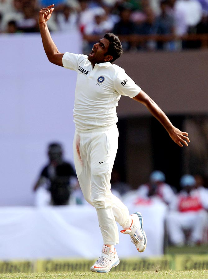 R Ashwin celebrates the wicket of Veerasammy Permaul