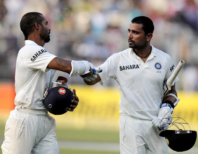 Shikhar Dhawan (left) with Murali Vijay