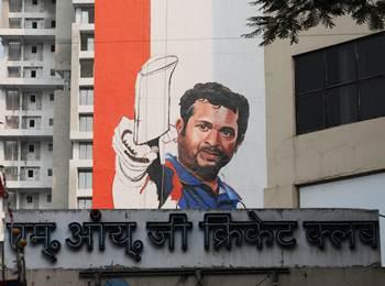 A poster of Sachin Tendulkar at the MIG Club in Mumbai