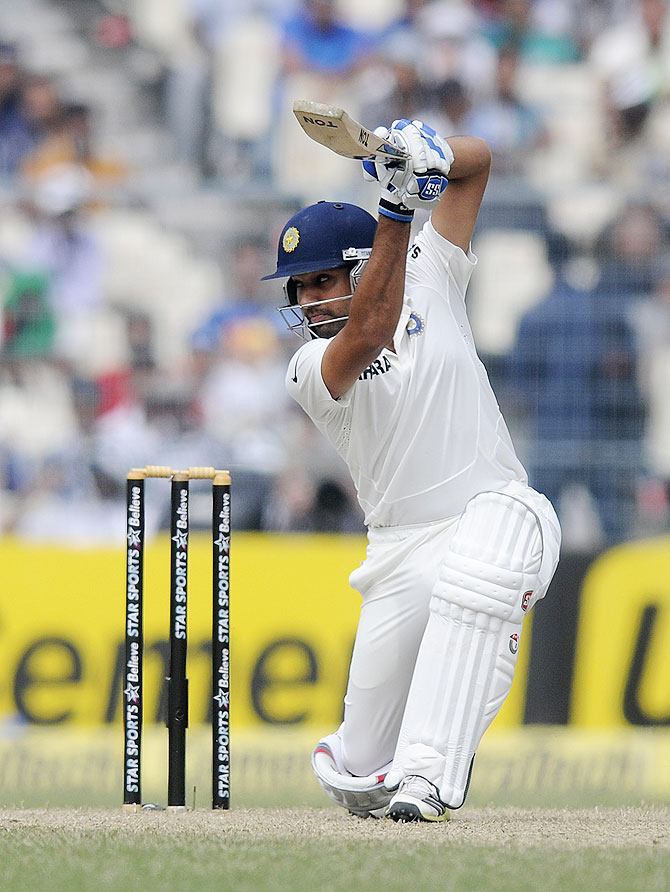 Rohit Sharma plays a shot on Day 2 of the 1st Test against the West Indies at Eden Gardens on Thursday