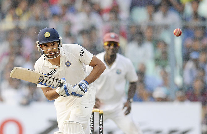 Rohit Sharma scores through the on-side on Day 2 of the 1st Test against West Indies at Eden Gardens on Thursday