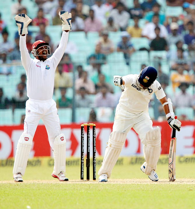 West Indies wicketkeeper Denesh Ramdin appeals for the wicket of Sachin Tendulkar