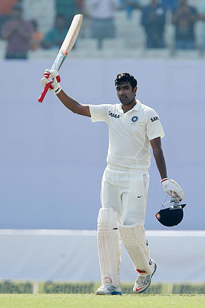 R Ashwin celebrates his century against West Indies on Friday