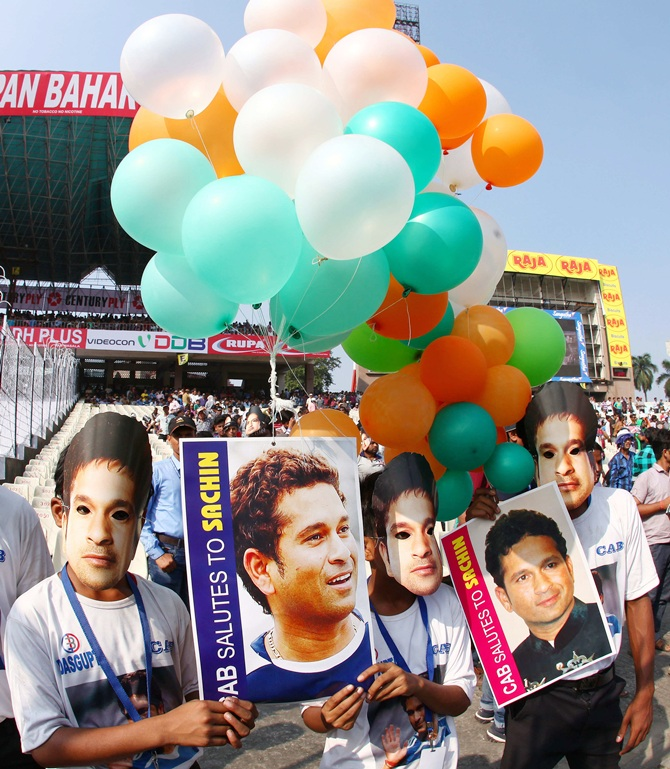 199 balloons were releases in honour of the 199th Test for Sachin Tendulkar of India