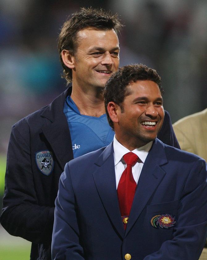 Adam Gilchrist with Sachin Tendulkar