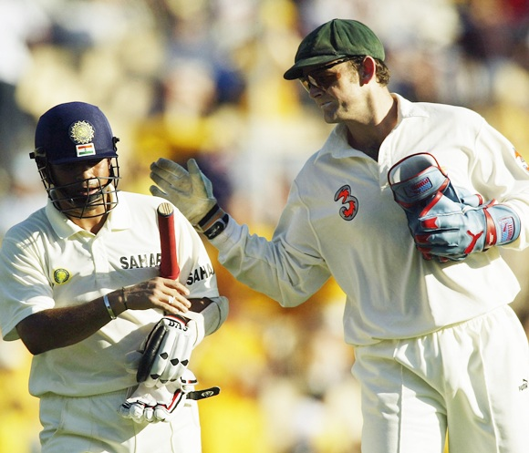 Sachin Tendulkar of India is congratulated by Adam Gilchrist