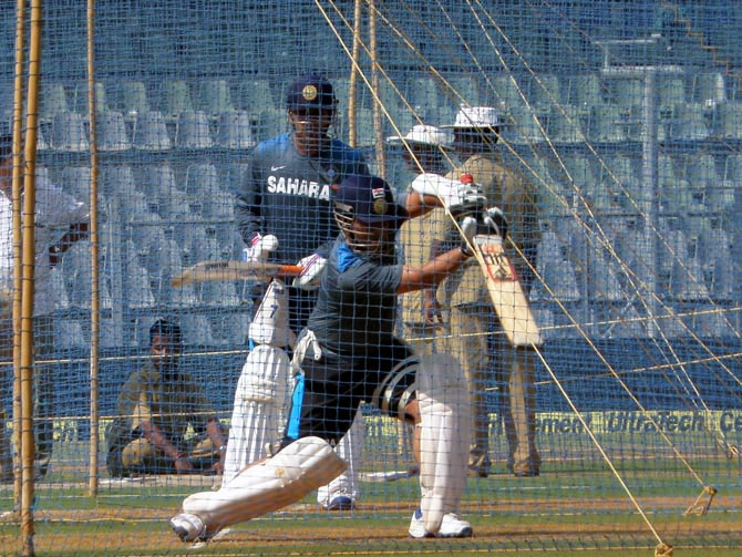 Sachin Tendulkar trains in the nets at the Wankhede stadium on Wednesday