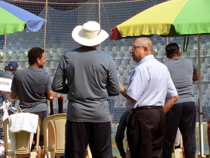 BCCI President N Srinivasan chats with coach Duncan Fletcher during India's nets session at the Wankhede on Wednesday