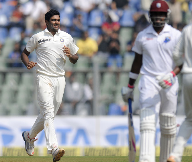 R Ashwin celebrates the wicket of Bravo