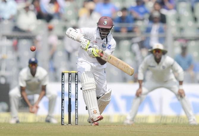 Shivnarine Chanderpaul of West Indies bats