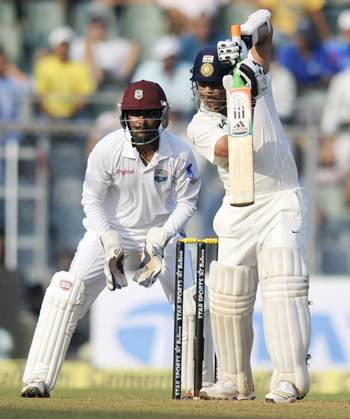 Sachin Tendulkar during his knock on Day 1 of the second Test against the West Indies at the Wankhede stadium