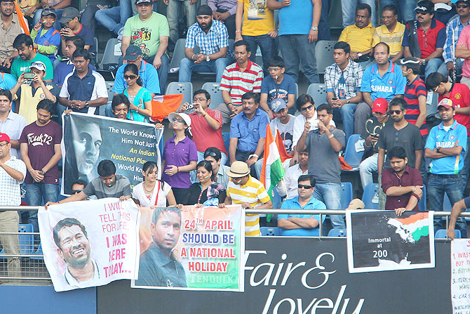 Spectators cheer for Tendulkar at the Wankhede on Friday
