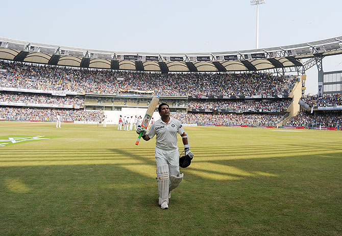 Sachin Tendulkar walks back to the pavillion after his dismissal on Friday