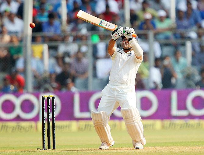 Sachin Tendulkar plays a shot on Friday