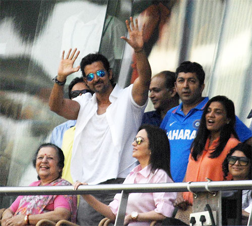 Hrithik Roshan in the VIP stands at the Wankhede on Friday