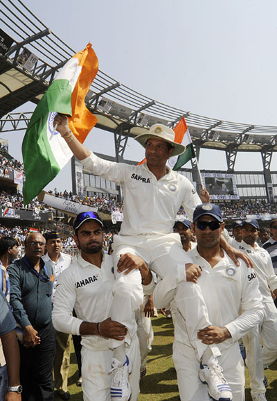 Sachin Tendulkar of India bids farewell at the end of his career on day three
